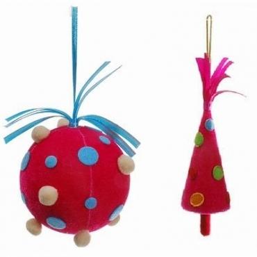 不织布树 球吊饰组粉色