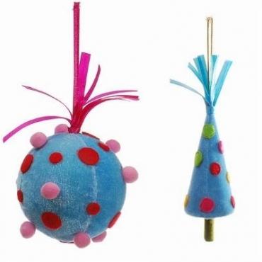 不织布树 球吊饰组蓝色